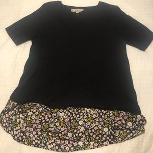 LOFT Knit tee with floral flare detail